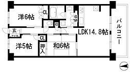 大阪府池田市畑2丁目の賃貸マンションの間取り