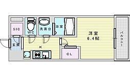 阪急京都本線 淡路駅 徒歩2分の賃貸マンション 3階1Kの間取り