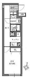 クレスト東中野 4階1Kの間取り