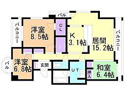 アパガーデンパレス札幌駅西 11階3LDKの間取り
