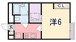 兵庫県姫路市神子岡前の賃貸アパートの間取り