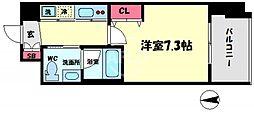 イノセント堂山 8階1Kの間取り