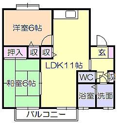 セジュ−ルIMAMURA B棟[206号室]の間取り