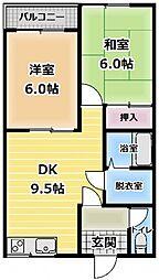 ヤシマハイツ[2階]の間取り