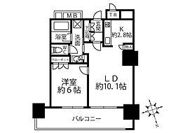 津田沼ザ・タワー 34階1LDKの間取り