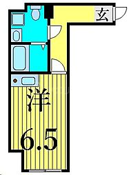 JR山手線 田端駅 徒歩10分の賃貸マンション 2階1Kの間取り