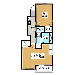 静岡県静岡市葵区昭府2丁目の賃貸アパートの間取り