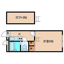 近鉄奈良線 学園前駅 徒歩6分の賃貸マンション 1階1Kの間取り
