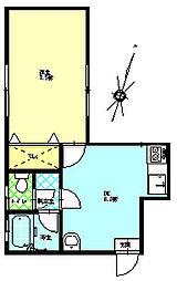 アビイロード 2階1DKの間取り