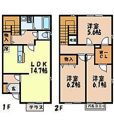 [テラスハウス] 長崎県長崎市滑石5丁目 の賃貸【長崎県 / 長崎市】の間取り