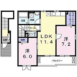 JR瀬戸大橋線 木見駅 徒歩20分の賃貸アパート 2階2LDKの間取り
