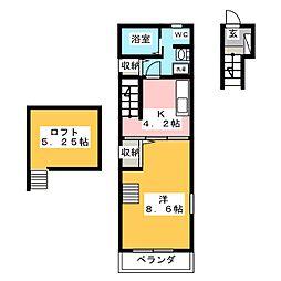 Villa Soleil 2階1DKの間取り