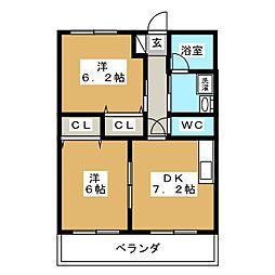 ガーデン藤岡[2階]の間取り