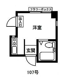 東京ボンプラーツ[107号室]の間取り