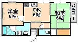 兵庫県伊丹市昆陽6丁目の賃貸マンションの間取り