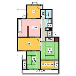 幸心西住宅4棟503号室[5階]の間取り