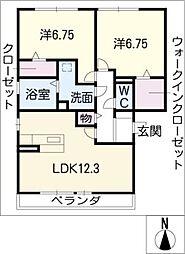 愛知県春日井市細木町2丁目の賃貸アパートの間取り
