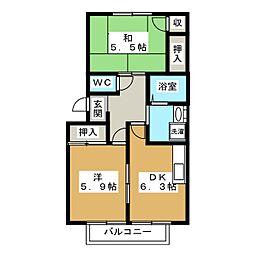 パティオモア西賀茂[2階]の間取り