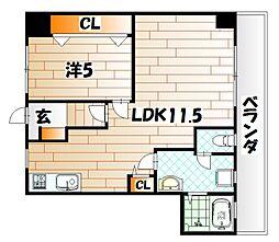 富田ハイツ[4階]の間取り