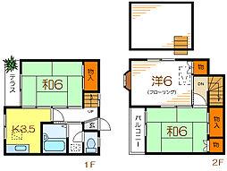都営新宿線 瑞江駅 徒歩15分の賃貸テラスハウス 3Kの間取り