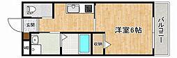 JR東海道・山陽本線 摂津本山駅 徒歩5分の賃貸マンション 2階1Kの間取り