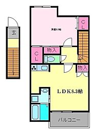 ソラーレ 2階1LDKの間取り