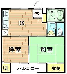 神奈川県川崎市中原区小杉町3丁目の賃貸アパートの間取り