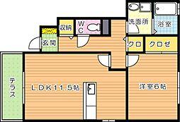 サニーヒルズ迫田[1階]の間取り