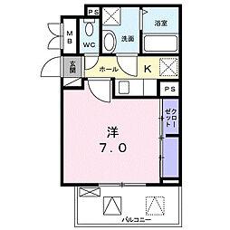 名古屋市営名城線 茶屋ヶ坂駅 徒歩14分の賃貸アパート 2階1Kの間取り