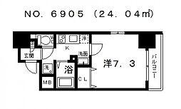 ポルト・ボヌール四天王寺夕陽ヶ丘ミラージュ[1101号室号室]の間取り