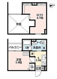 兵庫県尼崎市瓦宮1の賃貸アパートの間取り