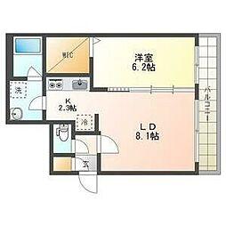 札幌市電2系統 西線16条駅 徒歩4分の賃貸マンション 2階1LDKの間取り