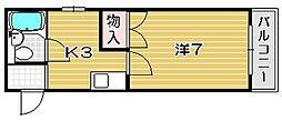大阪府高槻市川西町2丁目の賃貸マンションの間取り