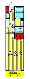 JR常磐線 柏駅 徒歩5分の賃貸アパート 1階1Kの間取り