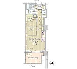 JR山手線 五反田駅 徒歩5分の賃貸マンション 2階1LDKの間取り