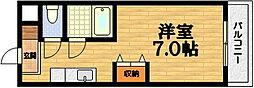 京都府京都市伏見区桃山町金井戸島の賃貸マンションの間取り