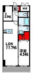 ロイズ空港東 4階1SLDKの間取り