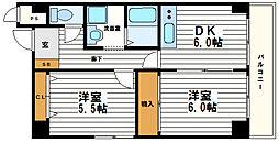 ベルドムール東横堀[3階]の間取り