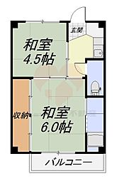 ビレッジハウス南野田3号棟 1階2Kの間取り