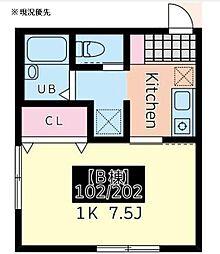 メルヴィーユ新横浜II 2階1Kの間取り