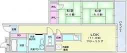 仙台市地下鉄東西線 八木山動物公園駅 3.5kmの賃貸マンション 2階2LDKの間取り
