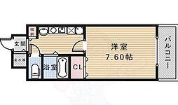 エコロジー宝塚レジデンス 2階1Kの間取り
