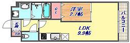 モント マヤ 3階1LDKの間取り