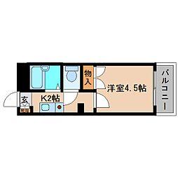近鉄南大阪線 高田市駅 徒歩4分の賃貸マンション 5階1Kの間取り