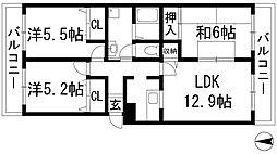 兵庫県西宮市門戸東町の賃貸マンションの間取り