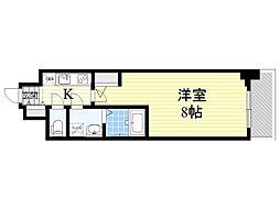 アルグラッド梅田WEST 12階1Kの間取り