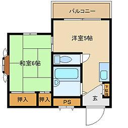 ハイツ武庫川[2階]の間取り