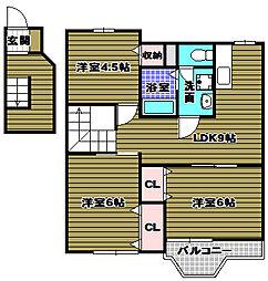 大阪府大阪狭山市東野中2の賃貸アパートの間取り