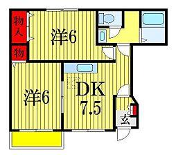 千葉県船橋市上山町2丁目の賃貸アパートの間取り