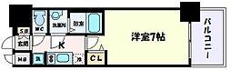 阪急神戸本線 春日野道駅 徒歩2分の賃貸マンション 4階1Kの間取り